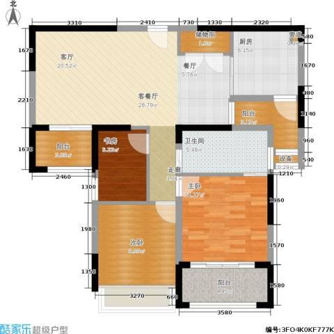 日月光伯爵天地3室1厅1卫1厨92.00㎡户型图
