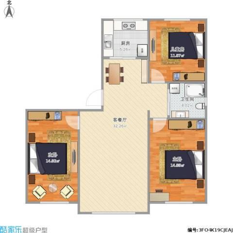 万家翔悦3室1厅1卫1厨110.00㎡户型图