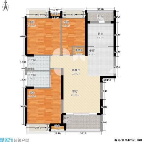 日月光伯爵天地3室1厅2卫1厨110.00㎡户型图
