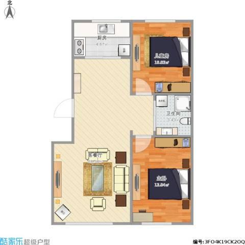 万家翔悦2室1厅1卫1厨79.00㎡户型图