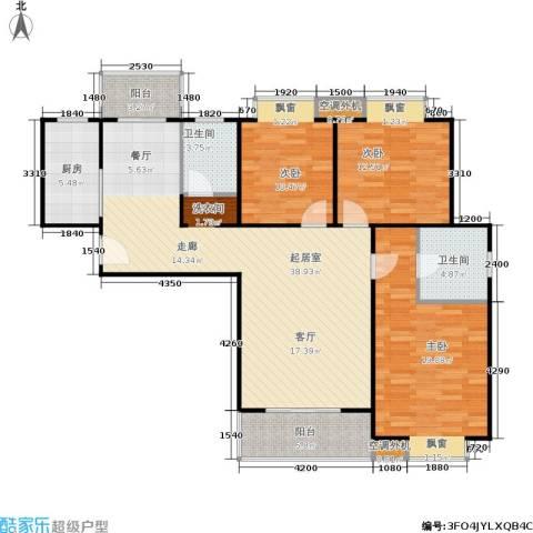 广厦水岸东方3室0厅2卫1厨119.00㎡户型图