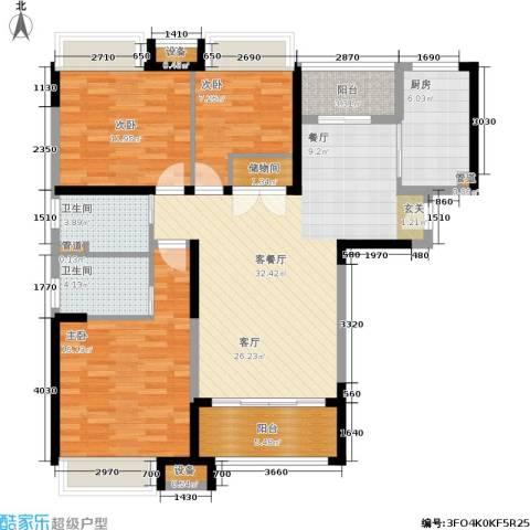 日月光伯爵天地3室1厅2卫1厨109.00㎡户型图