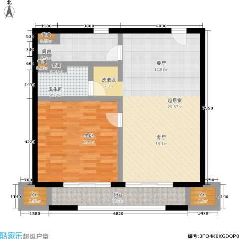 华润外滩九里国际公寓1室0厅1卫1厨73.00㎡户型图