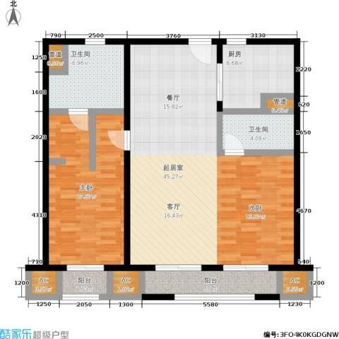 华润外滩九里国际公寓1室0厅2卫1厨107.00㎡户型图