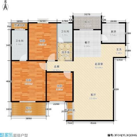 广厦水岸东方3室0厅2卫1厨136.00㎡户型图