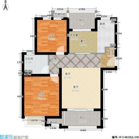 中星海上名豪苑四期御菁园2室1厅1卫0厨88.00㎡户型图
