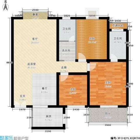 广厦水岸东方3室0厅2卫1厨129.00㎡户型图