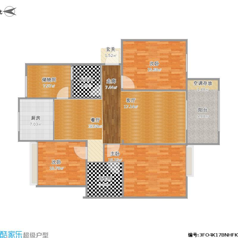 C1型+三房两厅一卫+双阳台