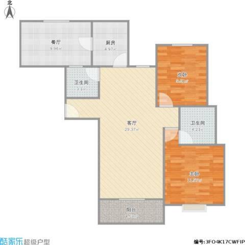 翡翠国际社区2室2厅2卫1厨104.00㎡户型图