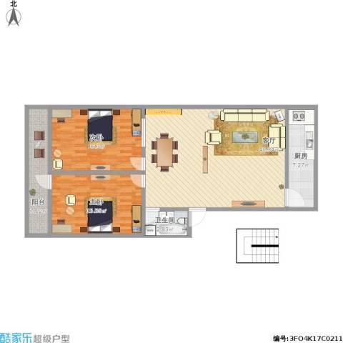 中环花园2室1厅1卫1厨124.00㎡户型图
