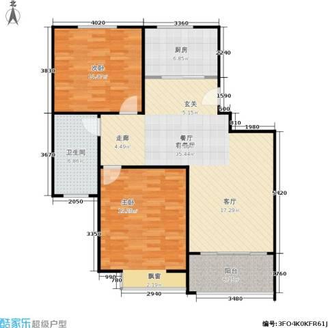 临港泥城苑2室1厅1卫1厨95.00㎡户型图