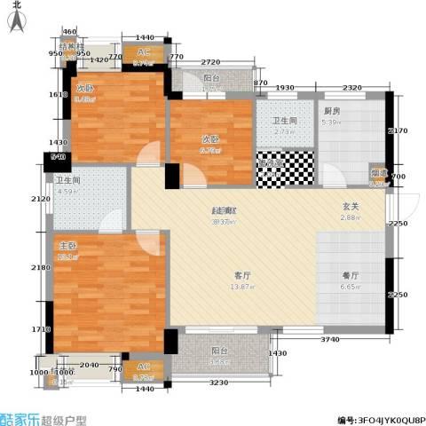 中民长青里3室0厅2卫1厨93.00㎡户型图