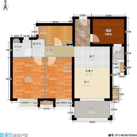 佳兆业1号3室1厅1卫1厨89.00㎡户型图