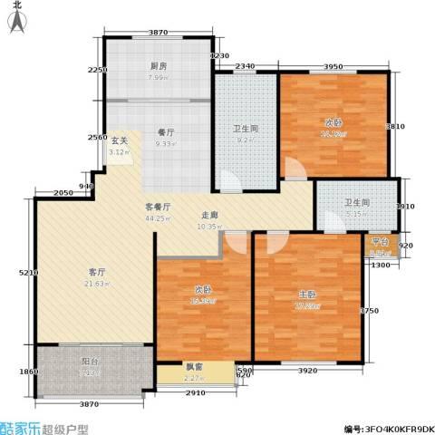 临港泥城苑3室1厅2卫1厨130.00㎡户型图