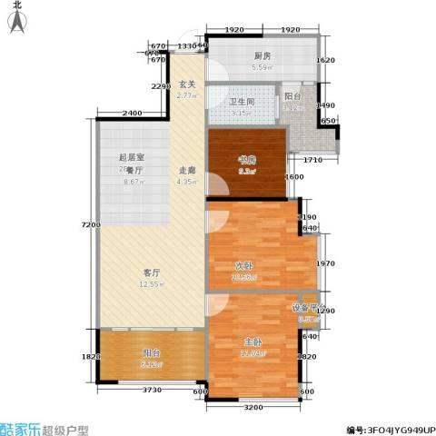 佛奥俊贤雅居3室0厅1卫1厨89.00㎡户型图