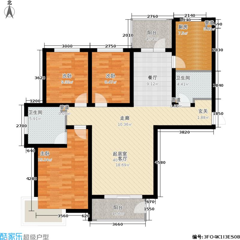 金屋秦皇半岛137.00㎡二区户型3室2厅