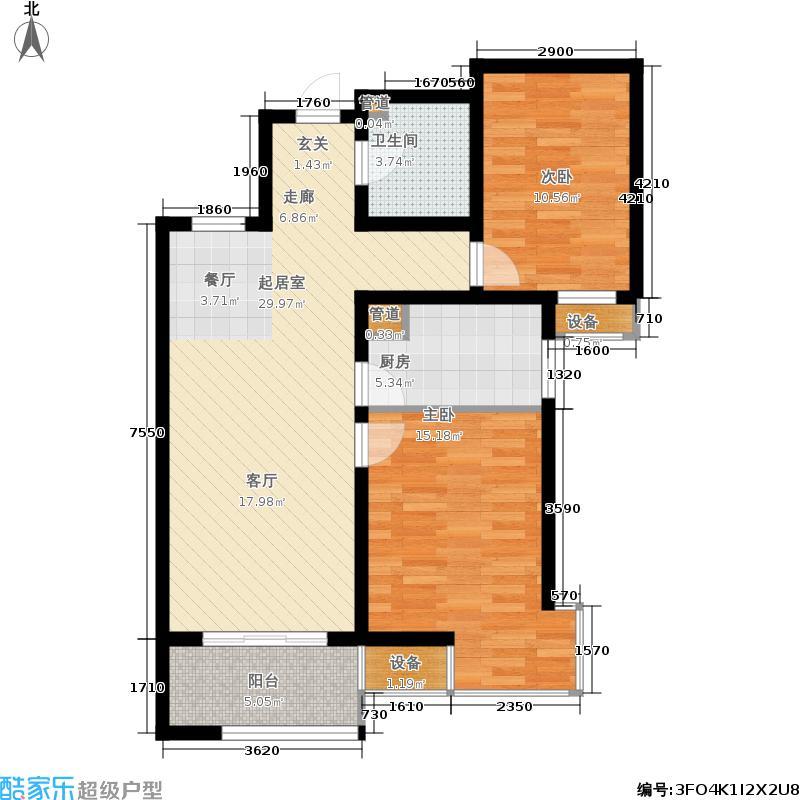 金屋秦皇半岛101.24㎡一区B1户型2室2厅
