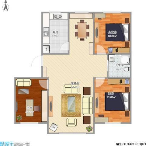 万家翔悦3室1厅1卫1厨108.00㎡户型图