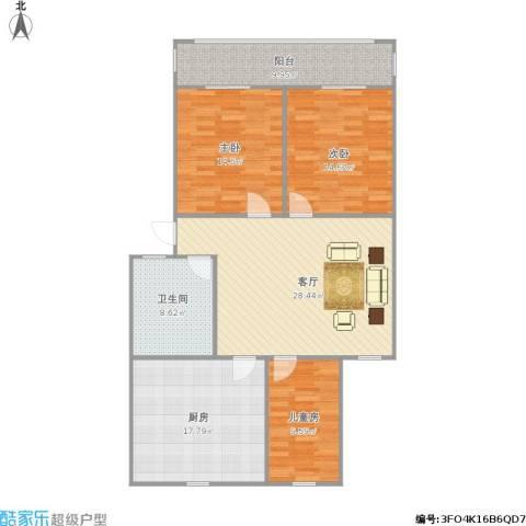 东兴小区3室1厅1卫1厨138.00㎡户型图