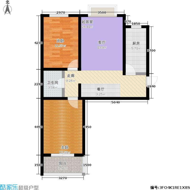 天顺家园91.44㎡二期8、9号楼H1户型2室2厅