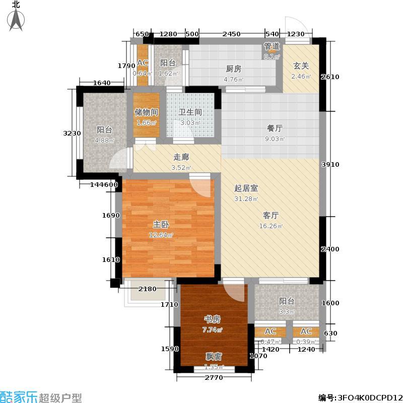 西财学府阳光88.70㎡一期36号楼标准层D4户型