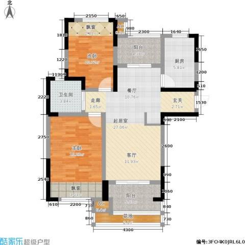 天居玲珑湾2室0厅1卫1厨91.00㎡户型图