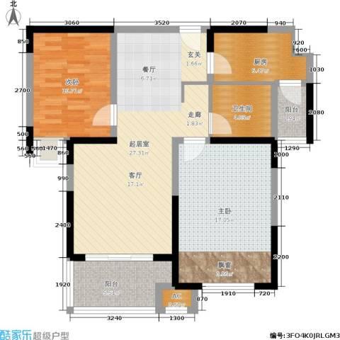 天居玲珑湾2室0厅1卫1厨83.00㎡户型图