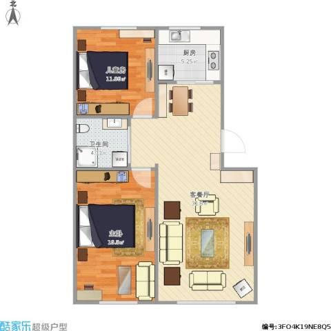 万家翔悦2室1厅1卫1厨92.00㎡户型图
