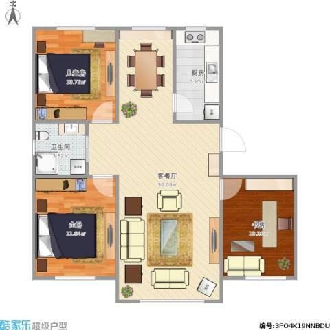万家翔悦3室1厅1卫1厨105.00㎡户型图