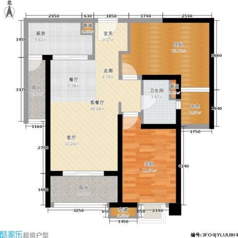 海伦春天2室1厅1卫1厨84.00㎡户型图