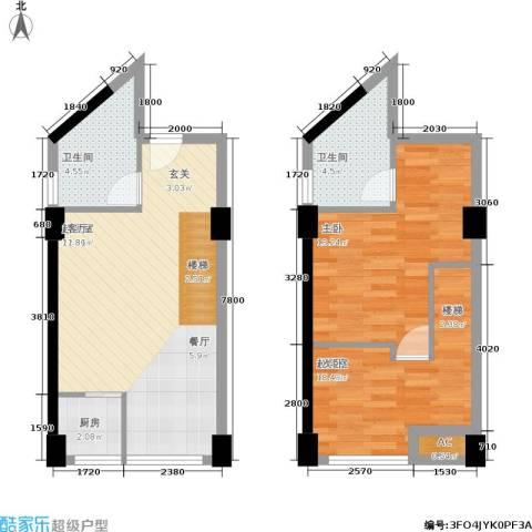 中民长青里1室0厅2卫1厨58.30㎡户型图