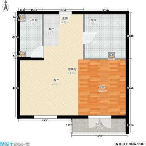 汤INN酒店式公寓1厅2卫0厨82.00㎡户型图