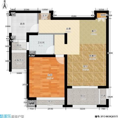 中星海上名豪苑四期御菁园1室1厅1卫1厨76.00㎡户型图