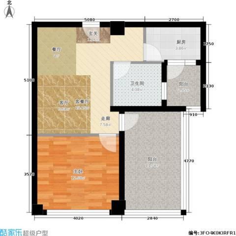 铂金公馆1室1厅1卫1厨63.00㎡户型图