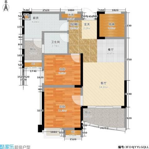 碧桂园城市花园2室1厅1卫1厨82.00㎡户型图