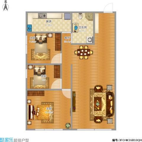 越秀・星汇蓝海3室1厅1卫1厨97.00㎡户型图