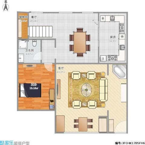 京津新城别墅1室2厅1卫1厨141.00㎡户型图