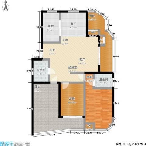紫金凰庭2室0厅2卫1厨127.00㎡户型图