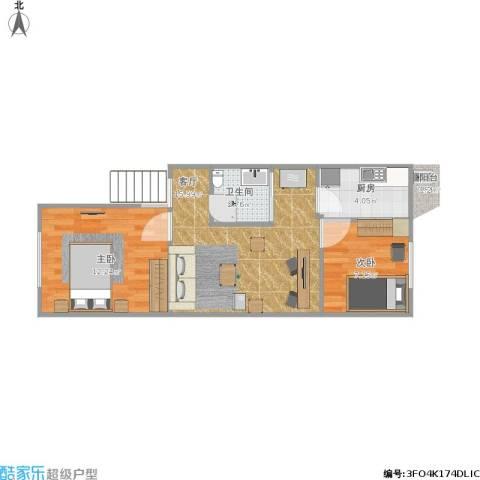 锦华中园2室1厅1卫1厨57.00㎡户型图