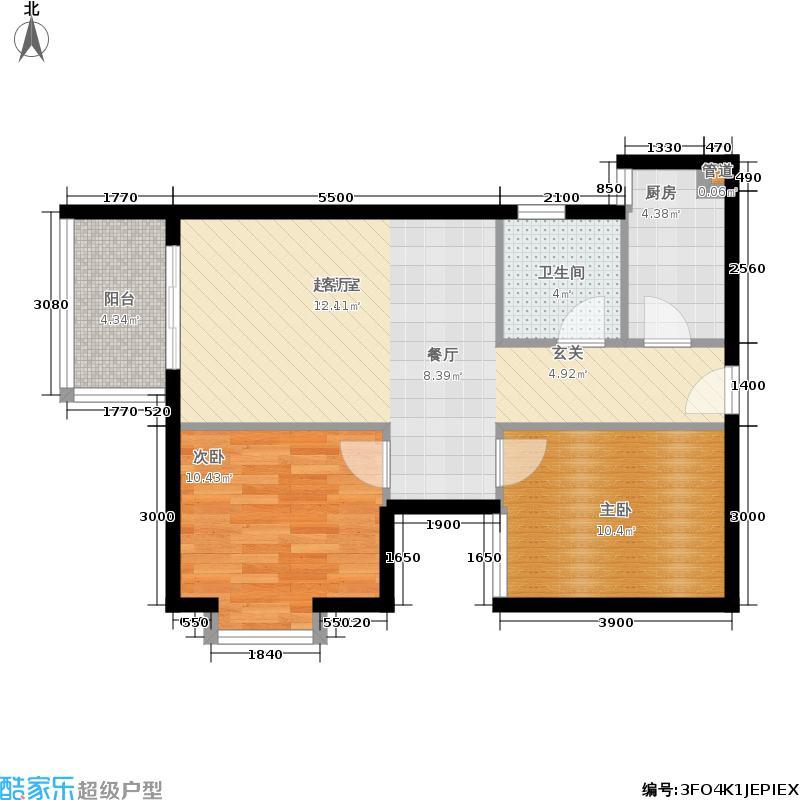 汉城壹号70.00㎡B2/J2/C4/K4户型3室2厅