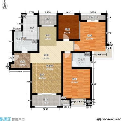 中星海上名豪苑四期御菁园3室1厅2卫1厨125.00㎡户型图
