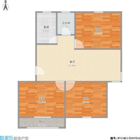 平阳一村3室1厅1卫1厨91.00㎡户型图