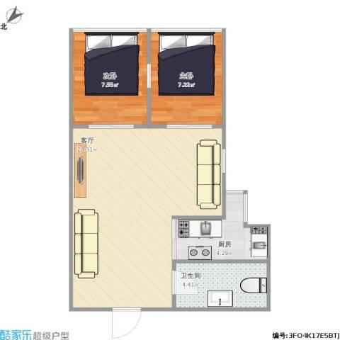 招商城市主场2室1厅1卫1厨65.00㎡户型图