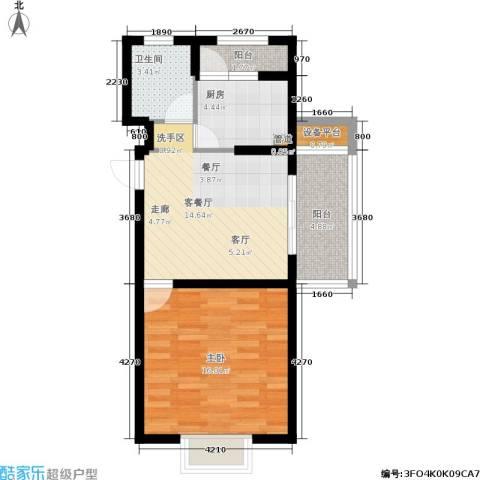 自然居家园1室1厅1卫1厨54.19㎡户型图