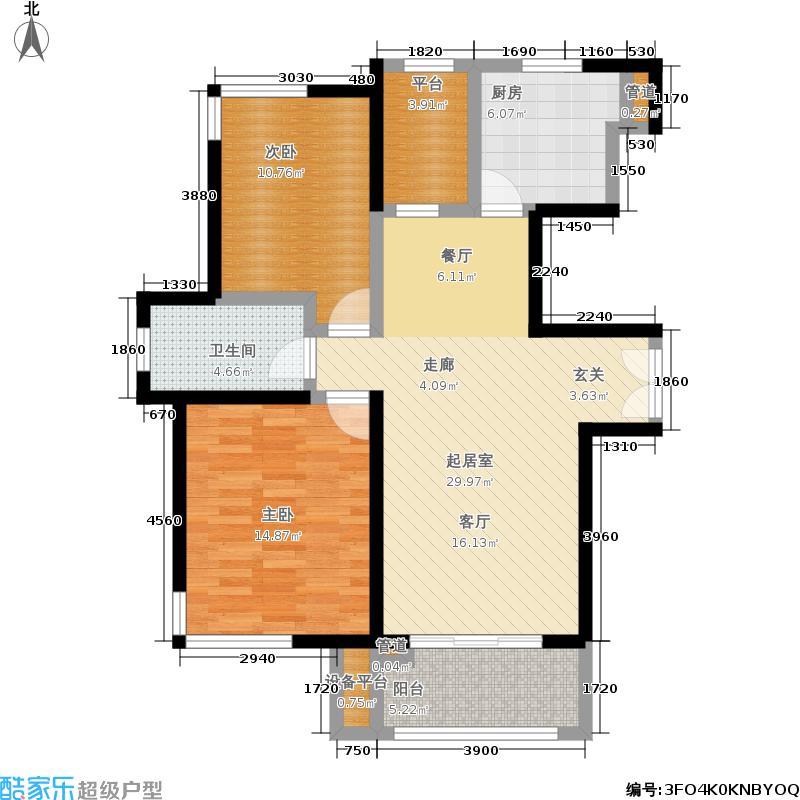 中环国际公寓88.12㎡6/8号楼K户型