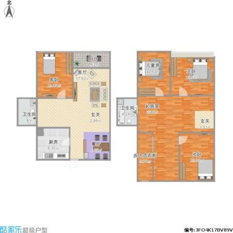 上坤公园天地4室1厅2卫1厨201.00㎡户型图