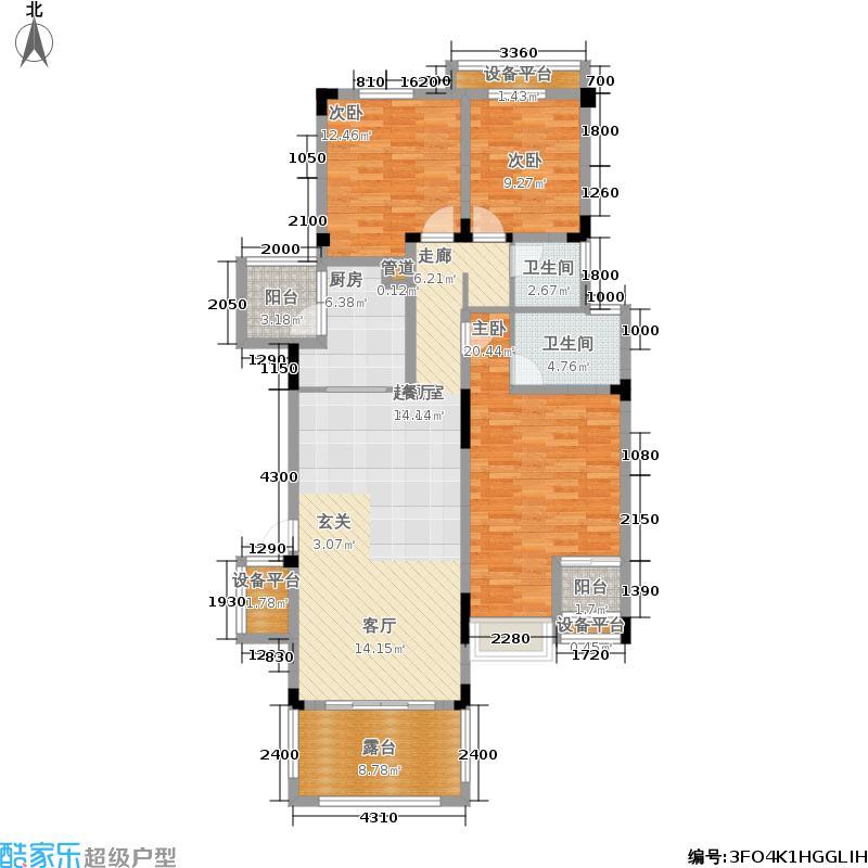 金科天湖小镇125.00㎡三期39/41/43/49/51/53/55号楼标准层C户型