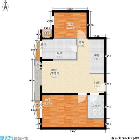 中海城香克林2室1厅1卫1厨114.00㎡户型图