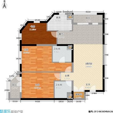 陕西北路16883室0厅2卫1厨121.00㎡户型图
