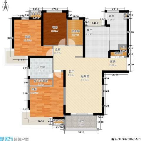 春申景城MID-TOWN3室0厅2卫1厨124.00㎡户型图